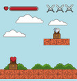 classic videogame scenery cartoon vector image vector image