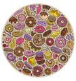 colorful hand drawn set donuts cartoon vector image vector image