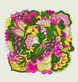colorful set doodle flowers vector image