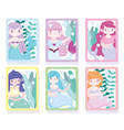 cute mermaid princess with colored hair under vector image vector image