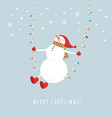 cute snowman in red hat on rope swing in winter vector image