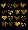 doodle golden hearts hand drawn love heart icons vector image