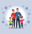family wearing coronavirus protection masks face vector image