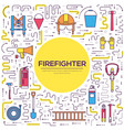 flat firefighter uniform and first help equipment vector image vector image