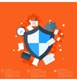 Flat shield icon Data protection concept Social vector image
