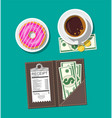 folder with cash coins cashier check coffee cup vector image vector image