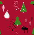 funny christmas forest seamless pattern vector image vector image