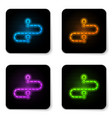 glowing neon route location icon isolated on vector image