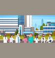 group of medical doctors standing in front of vector image vector image
