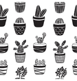Hand drawn set of Cactus in the pots vector image