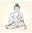 Hand drawn sitting Buddha in meditation Sketch for vector image