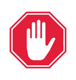 hand stop icon prohibition sign vector image vector image