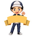 happy boy with brown banner vector image vector image
