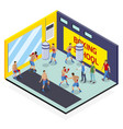 isometric box school composition vector image vector image