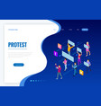 isometric crowd people protesters male and vector image vector image