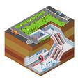 isometric metro station concept vector image