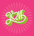 love 3d typographic with arrow throug vector image vector image
