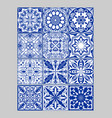 majolica pottery tiles mega set blue and white vector image vector image