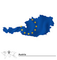 Map of Austria with European Union flag vector image vector image