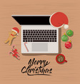 merry christmas poster with laptop computer scene vector image