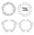 nature wreaths set black vector image