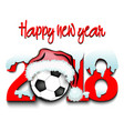 new year numbers 2018 and soccer ball vector image vector image