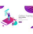 online training and digital learning via mobile vector image vector image