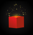 open red gift box and confetti christmas vector image