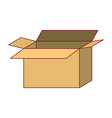 opened cardboard box icon colorful silhouette vector image