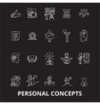 personal concepts editable line icons set vector image vector image