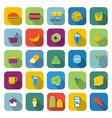 popular food color icons with long shadow vector image vector image