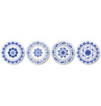 porcelain plates blue on white pattern in vector image