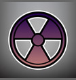 radiation round sign violet gradient icon vector image