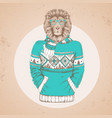 retro hipster animal lion dressed in pullover vector image vector image