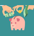 saving money flat concept vector image