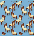 seamless pattern of isometric cartoon chair front vector image vector image