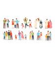 set happy traditional heterosexual families vector image vector image
