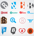 Set of alphabet symbols of letter B vector image vector image