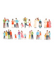 set of happy traditional heterosexual families vector image vector image