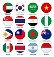 set round flags buttons - 3 vector image