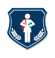 shield emblem with silhouette student girl and vector image vector image