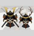 skull samurai with deer antlers helmet vector image vector image