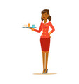 smiling woman stewardess with tray of drinks vector image