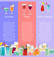 summer party drink glasses alcoholic beverages vector image