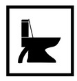 toilet icon in black square on white background vector image vector image