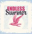 travel banner with gull and sun endless summer vector image vector image