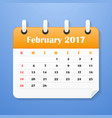 usa calendar for february 2017 vector image vector image
