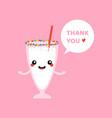 vanilla milkshake glass character saying thank you vector image vector image