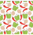 vegetable pattern with composition paprika vector image