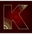 Vintage alphabet with floral swirls letter K vector image